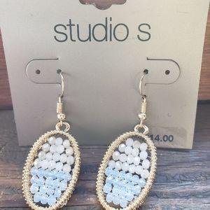 NWT! Studio S Goldtone and Bead Earrings